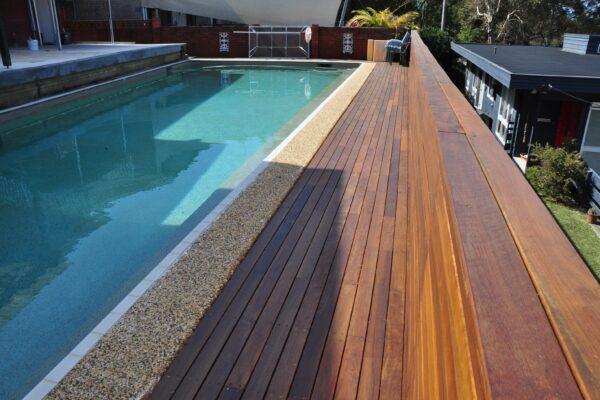 Timber decking around pool